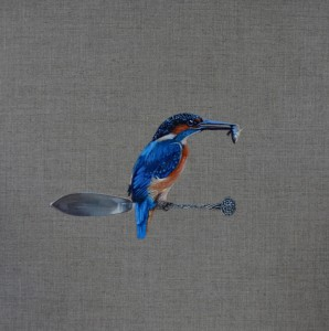 'I guess I'll never be satisfied because there are always more out there' Kingfisher and Fish Knife 35 x 35 cm oil on linen