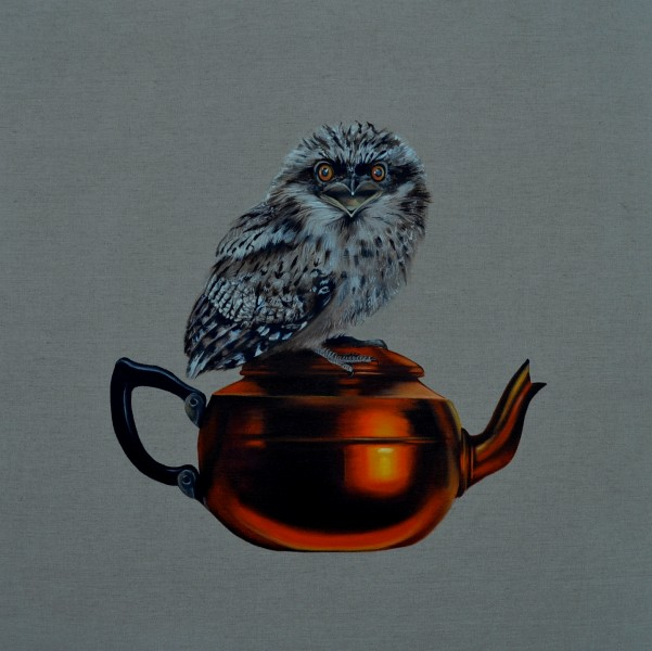 'They connect me to my past' Frogmouth Teapot 76 x76 cm oil on linen