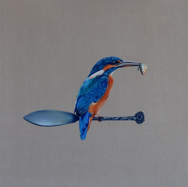'I guess I'll never be satisfied because there are always more out there' Kingfisher and Fish Knife 92x92 cm