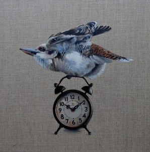 'I like the sound they make when they go off' Kookaburra Vintage Alarm Clocks 2015 30 x 30 cm oil on linen board