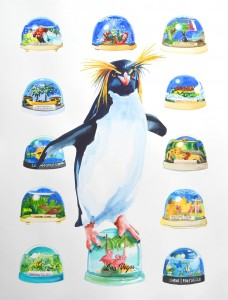 'I pick one up when I go on holidays' Rock Hopper Penguin Snow Domes 2015 46 x 61 cm watercolour web