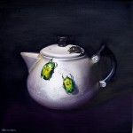 Aluminium Teapot and Bugs  40x40 oil on linen web