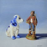 Delft Blue Dog and Plastic Figurine 30.5x30