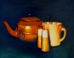 Orange Teapot and Bugs 80x100 cm oil on canvas web