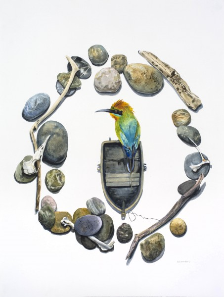 Sticks and Stones - Migrant Bee Eater 2015 watercolour 46 x 61 cm