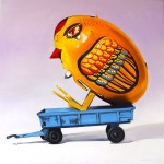 Tin Chick in Trailer 90x90 cm oil on canvas web