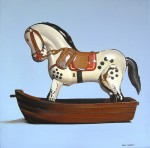 Tin Horse in Plastic Boat 30x30 oil on linen web