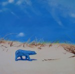 Tin Polar Bear on Sand Dune 84x84 cm oil on canvas web