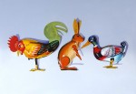 Tin Rooster, Rabbit and Duck oil on canvas 70x100 cm
