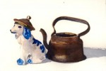 delft dog with kettle hat