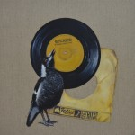 'I only collect the classics' Magpie 45 singles 36 x 36 cm oil on linen