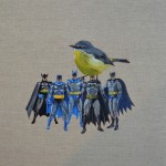 'These are my favourite ones' Robin Batman 36 x 36 cm oil on linen