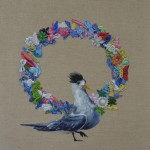 'They are useful as well as pretty' Crested Tern Wreath Barrettes 41 x 41 cm oil on linen