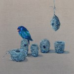'I'm not finished collecting yet' Dollar Bird - Fiona Hall 'Tender' series 2014 41 x 41 cm oil on linen